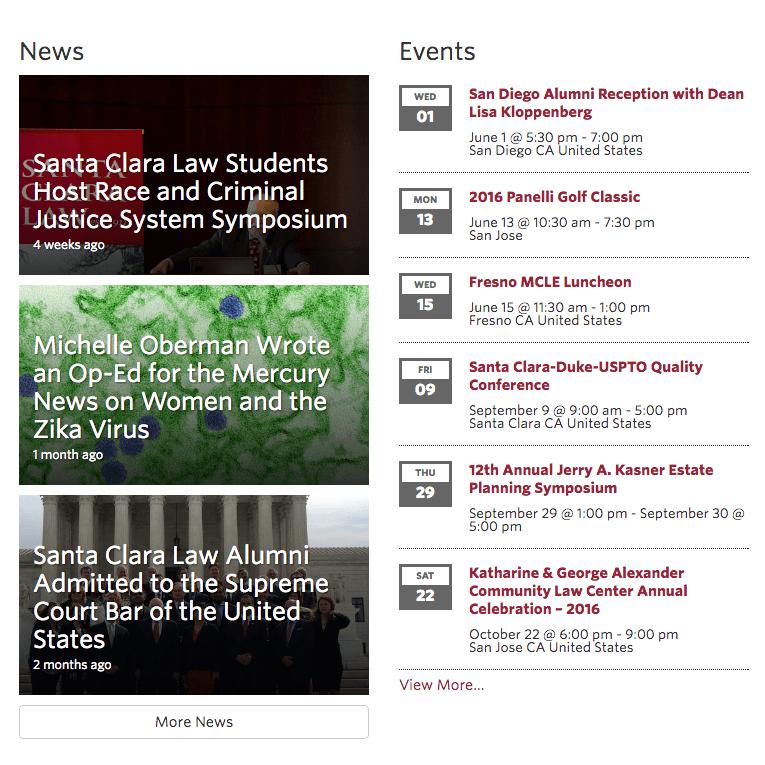 Featured stories on Santa Clara Law homepage